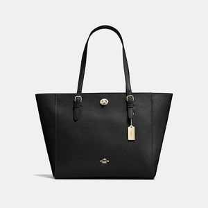 COACH Turnlock Leather Tote